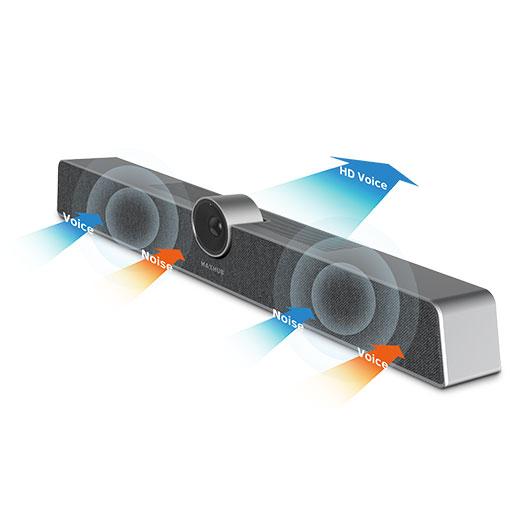 Videokonferenssystem som reducerar brus och eko och ser till att alla mötesdeltagare både hör och hörs.